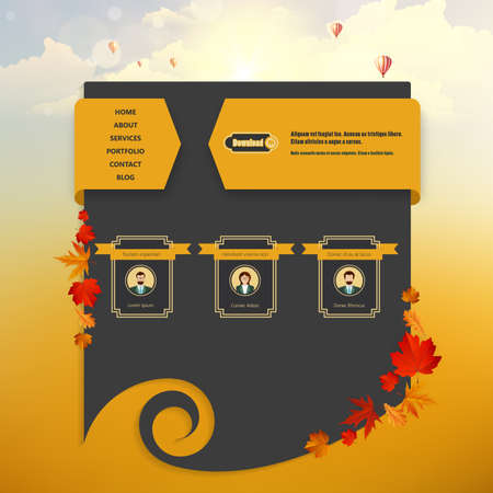 Website Template with Autumn Sunset Illustration. Vector Eps 10