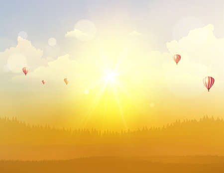 Autumn Fantasy Vector Background Landscape, Sunset and hot air ballons on cloudy sky.