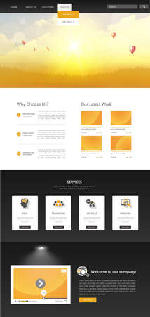 One Page Website Template with Autumn Sunset Illustration.