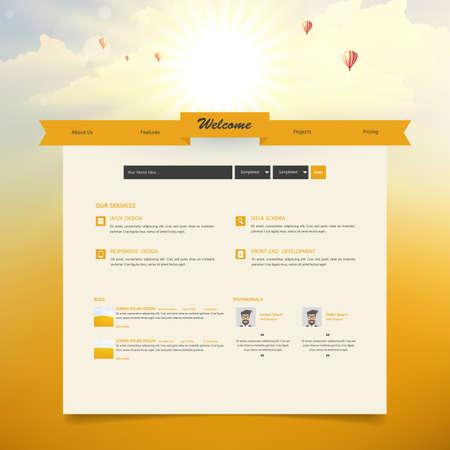 Website Template with Autumn Sunset Illustration.