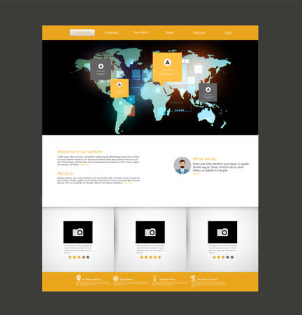 Flat website template modern web design with ui elements and flat website template modern web design with ui elements and abstract world map illustration gumiabroncs Images