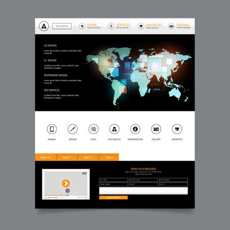 Flat Website Template, Modern Web Design with UI elements and abstract world map illustration. Ideal for Business layout,