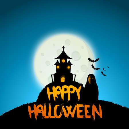 Halloween night, black castle on the moon background, illustration. Illustration