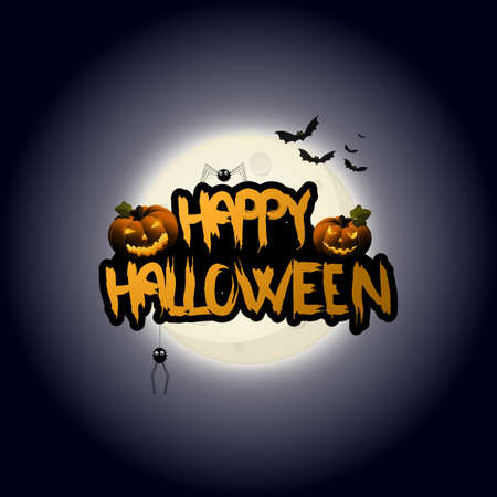 scratchy: Halloween Background design and Happy Halloween lettering with scratchy font. Vector Illustration.