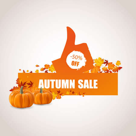 okey: Autumn Sale Concept with Autumn Leaves Vector Illustration.