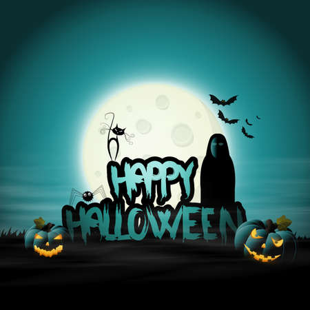 Halloween Background design and Happy Halloween lettering with scratchy font. Vector Illustration.