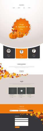 Creative Autumn theme website template design vector Illustration