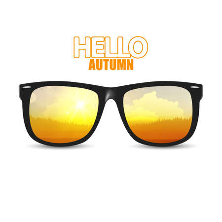 sunglasses reflection: Vector autumn landsape reflection on sunglasses, vector illustration Autumn.