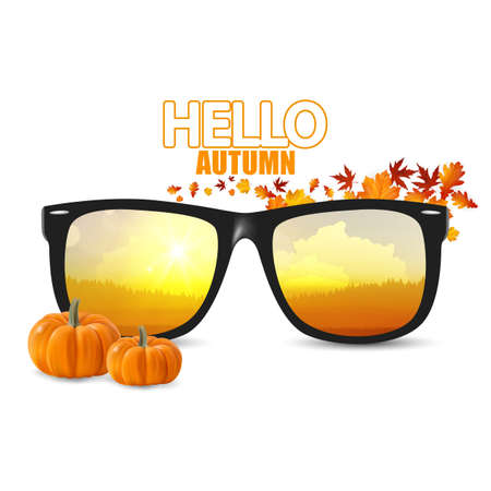 Vector autumn landsape reflection on sunglasses, Autumn vector illustration with fall leaves and pumpkins. Illustration