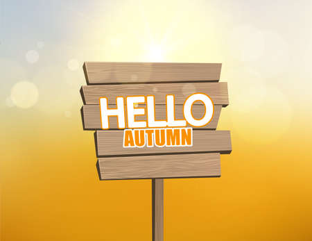 separately: Vector realistic illustration of autumn wooden signboard with bokeh background. Elements are layered in Separately vector file. Illustration