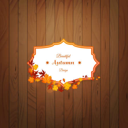 Card with leaves on wooden background. Vector autumn design.