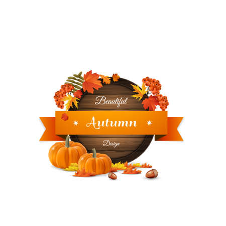 Vector realistic illustration of autumn wooden signboard. Vector autumn leaves and rowan berries with desig, pumpkins,