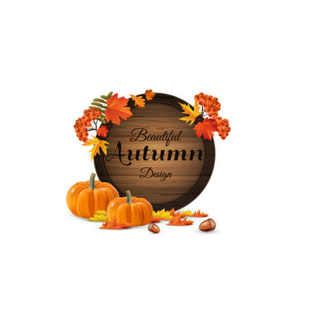 Vector realistic illustration of autumn wooden signboard. Vector autumn leaves and rowan berries with design, pumpkins, Illustration