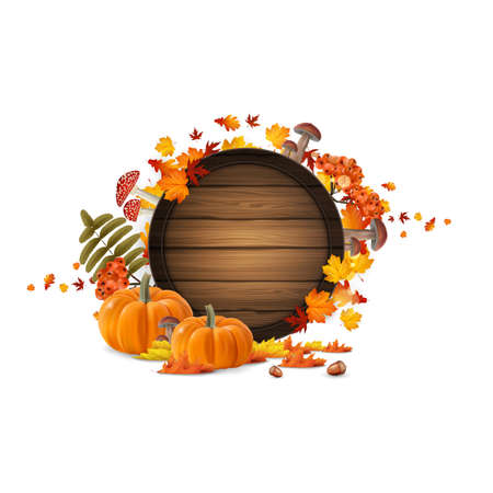 Autumn leaves and pumpkins composition. Design of autumn season. Autumn welcome autumn background with beautiful lettering on wooden barrel.