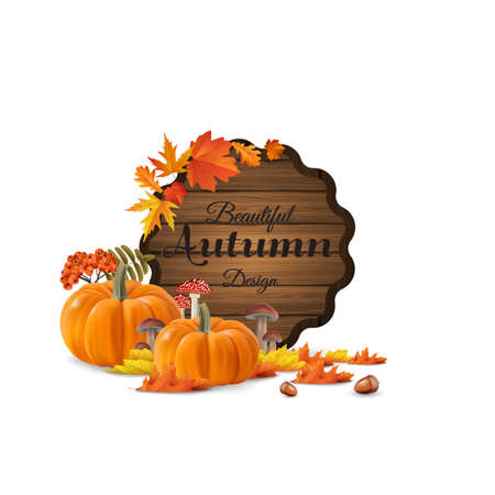 fly agaric: Autumn leaves and pumpkins composition. Design of autumn season. Autumn welcome autumn background with beautiful lettering on wooden barrel.