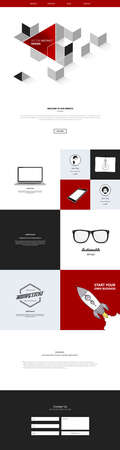 small business office: One page website template. Vector mobile friendly website. Smartphone compatible web design.