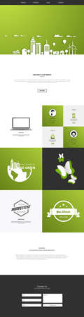 compatible: One page website template. Vector mobile friendly website. Smartphone compatible web design.
