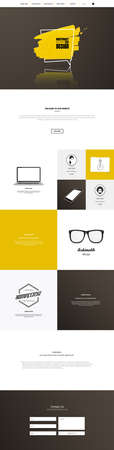 searh: One page website template. Vector mobile friendly website. Smartphone compatible web design.