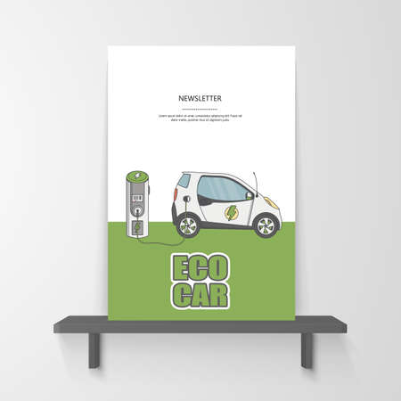 Flyer or Postran Design. Illustration of Flat Electric car charging station on. Vector design.