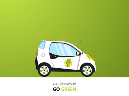 Flat Design on green backdrop .. Vector Electric car illustration.