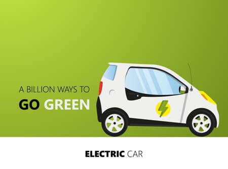 Flat Design on green backdrop .. Vector Electric car illustration.