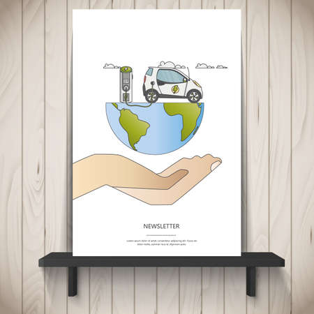 Human hand holding flat design of electric car charging station on. Vector illustration eco landscape with electric car.