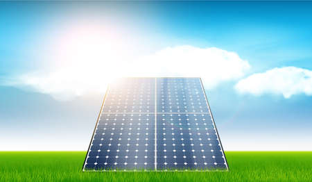 Detailed Vector Illustration of Electric Solar Panel.