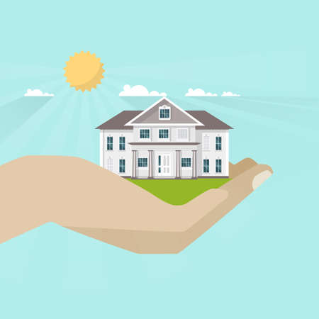 Human hand holding american style family home, Vector illustration.