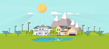suburban street: American suburban houses. Eco lifestyle background. Flat design concept vector illustration.