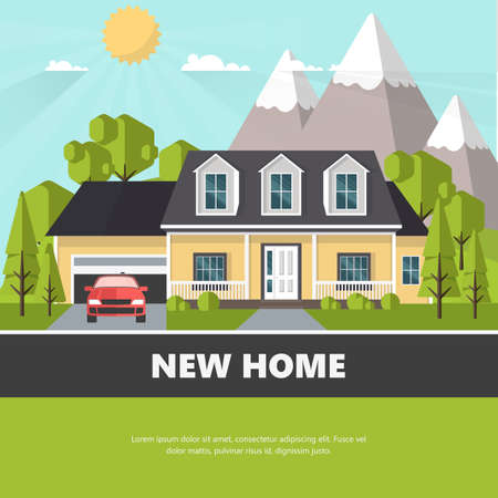 American suburban house. Family home. Flat design concept vector illustration. Illustration