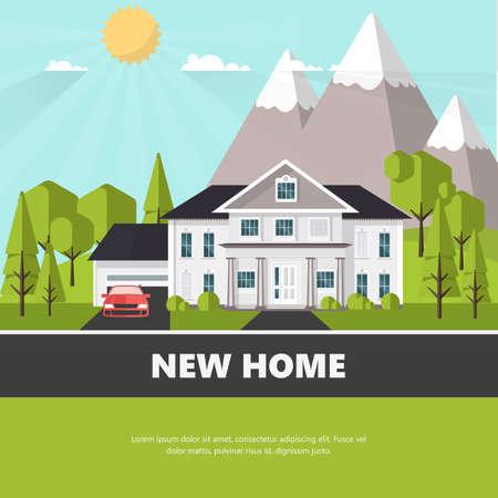 suburban: American suburban house. Family home. Flat design concept vector illustration. Illustration