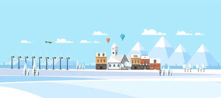 Fondo abstracto de paisaje de invierno. Ilustración de vector plano Ilustración de vector