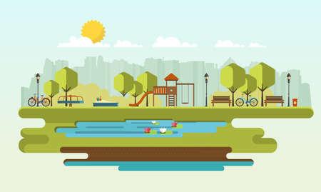 Public park in the City. Flat Vector illustration. Illustration