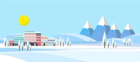 Paesaggio invernale sfondo. Illustrazione vettoriale piatta. Vettoriali