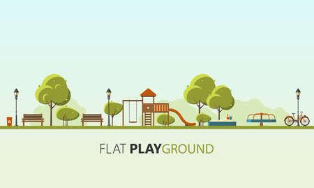 Public parks. Flat Vector illustration. Easy to make patterns. Stock Illustratie