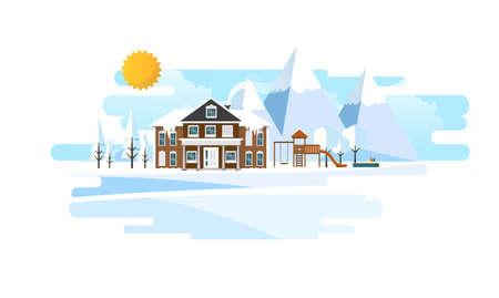 Suburban Home in Winter Landscape Vector Flat Iluustration,