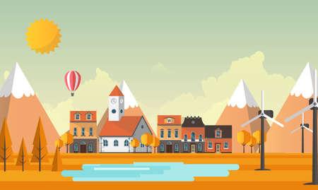 Flat Illustration of town in autumn. Vector Abstract Design. Illustration