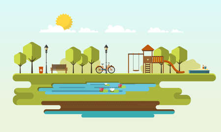 make public: Public parks. Flat Vector illustration. Easy to make patterns. Illustration