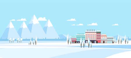 suburban: Buildings in Suburban Winter Landscape Vector Illustration Flat,