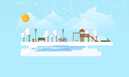 Public park in Winter. Abstract Flat Vector illustration.