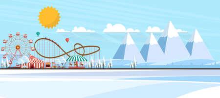 Vector Winter Landscape with Amusement Park Illustration