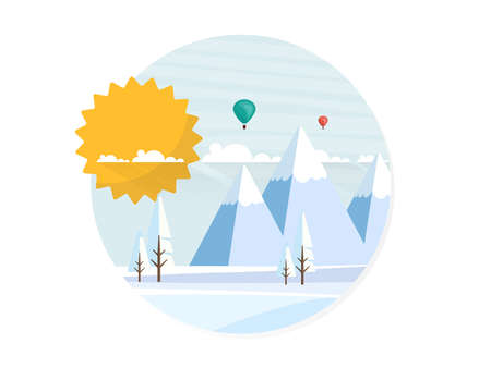 wintery: Flat illustration of winter landscape, Vector Design,