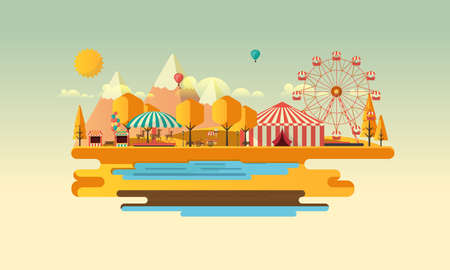 Amusement park at autumn daytime flat illustration Illustration