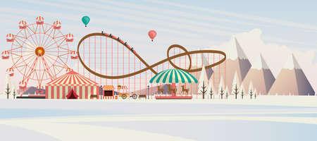 coaster: Flat illustration of amusement park at daytime in winter illustration