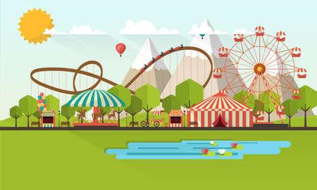 ilustración plana del parque de diversiones en la ilustración durante el día