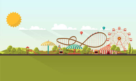 Flat illustration of amusement park at daytime illustration
