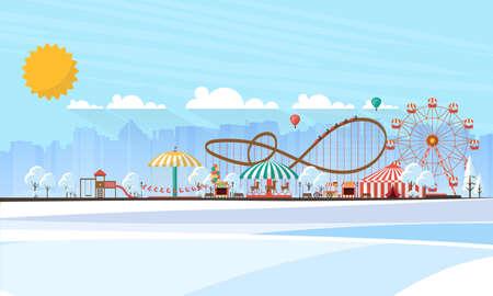 Flat illustration of amusement park at daytime in winter illustration