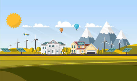 Flat Design Abstract Landscape Village. Vector Illustration. Illustration