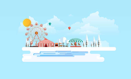 Flat illustration of amusement park at daytime in winter illustration