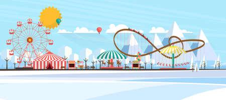 ilustración plana del parque de diversiones durante el día en invierno ilustración